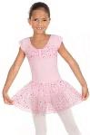 Eurotard 02463 Sparkle Child Short Sleeve Leotard with Gathered Sequined Tulle Bust and Attached Double Layer Sequined Tulle Skirt