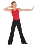 "Eurotard 46757C Child Cotton / Lycra Low Rise ""V"" Front Jazz Pants"