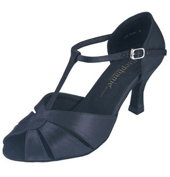 "Stephanie Ballroom Shoe 12018-15 -Black Satin, Open Toe, T Strap, 2.5"" Heel"