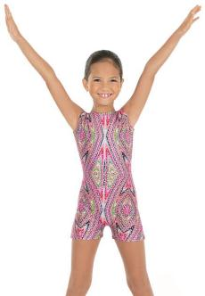 Eurotard 23503 Child Metallic Kaleidoscope Print Gymnastics Tank Biketard