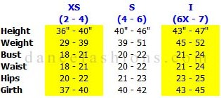 eurotard  0103 princess rose leotard sizing chart