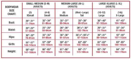 body wrappers p220 adult asymmetrical lace shoulder leotard sizing chart