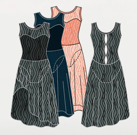 body wrappers p1094 tiler peck wavy lines mesh dress color swatch