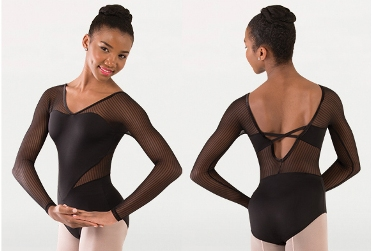 body wrappers p1233 fine mesh dtripe long sleeve leotard
