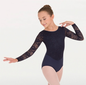 body wrappers 2065 Long Sleeve Leotard w/Lace Sleeves