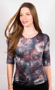 amb 3750-163 moody floral elbow sleeve top center