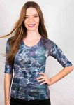amb 3750-163 moody floral elbow sleeve top lavender gray