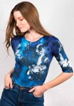 amb 3750-163 moody floral elbow sleeve top midnight blue color swatch