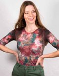 amb 3750-163 moody floral elbow sleeve top pink garden color swatch