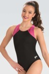 gk elite 3803 branded strappy y back gymnastics leotard berry swatch