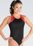 gk elite 3803 branded strappy y back gymnastics leotard red swatch
