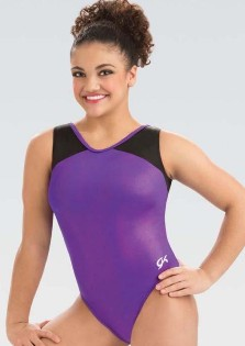 gk elite 3820 branded hologram v neck gymnastics leotard center