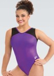 gk 3820 branded hologram v neck gymnastics leotard grape swatch