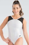 gk elite 3820 branded hologram v neck gymnastics leotard white swatch