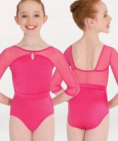 body wrappers p1009 child mesh three quarter sleeve keyhole leotard