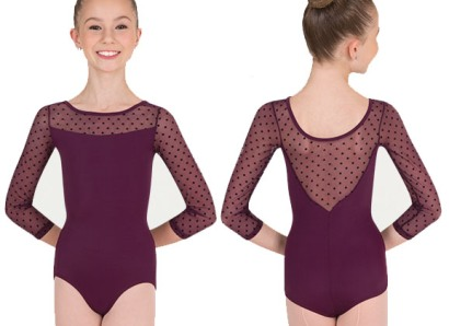 body wrapper p1042 child dotted three quarter sleeve leotard