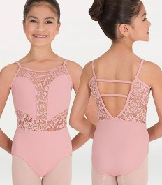 body wrappers p1101 child camisole sweetheart lace leotard