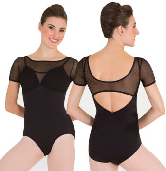 body wrappers p1122 petite floral mesh sleeved camisole leotard