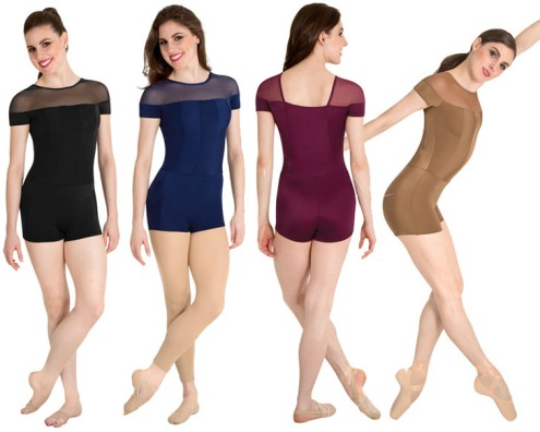 body wrappers p1206 adult tiler peck illusion short sleeve unitard color swatch
