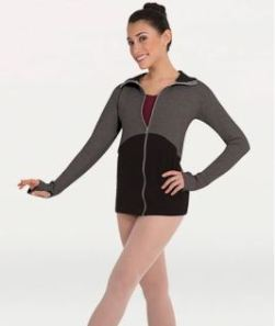body wrappers 8510 two color zip front jacket color swatch