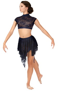 body wrappers lc9109 adult uneven hem lace dance skirt