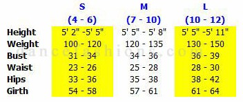 eurotard 4493 adult lattice back leotard sizing chart