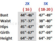 body wrappers 646 metallic cross praise dress - plus sizing chart