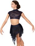 body wrappers lc1109 child uneven hem lace dance skirt