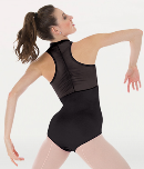 body wrappers p1002 tiler peck power mesh zip front leotard