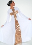 body wrappers 620 praise cross long dress with semi bell sleeves