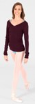 bloch z0958 adult v-neck long sleeve sweater