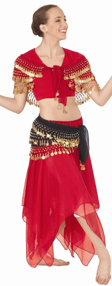 eurotard 39769 chiffon double layered handkerchief belly dance skirt
