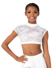 body wrappers lc1025 child short sleeve lace crop top