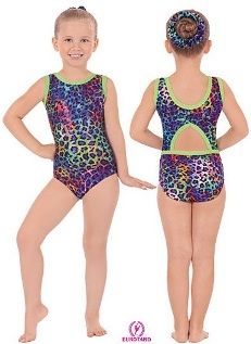 Eurotard 31874 child multi color leopard print gymnastics tank leotard with cut out back