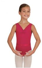 capezio tc0002w v-neck leotard with belt