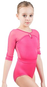 body wrappers p1009 childrens mesh three quarter sleeve keyhole leotard