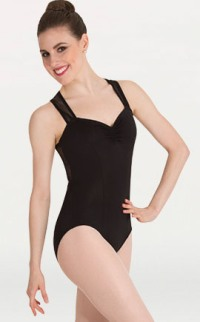 body wrappers p1012 camisole mesh back insert leotard