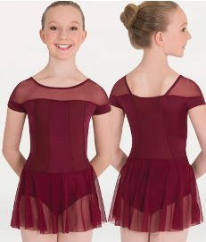 body wrappers p1205 child tiler peck illusion neckline leotard