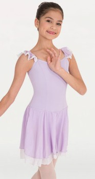 body wrappers p715 child camisole flutter sleeve leotard with contrast skirt