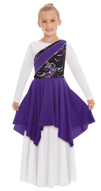 eurotard 83567c child opulent orchid asymmetrical tunic
