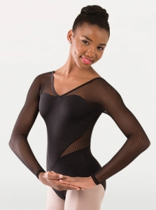 body wrappers p1233 child fine mesh stripe long sleeve leotard