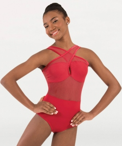 body wrappers p1230 child fine mesh stripe cross over front leotard