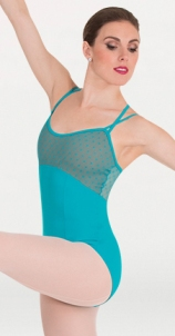 body wrappers p1112 diamond mesh cross back cami leotard