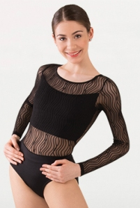 body wrappers p1091 child tiler peck wavy lines mesh long sleeve leotard