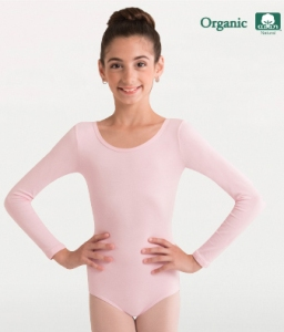 body wrappers ogc126 child organic cotton long sleeve leotard