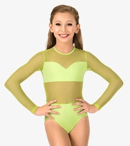 body wrappers nl100 child competition leotard with power mesh body and sleeves