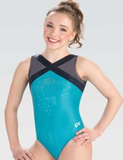 gk 3784 celestail sky v-neck gymnastics tank leotard