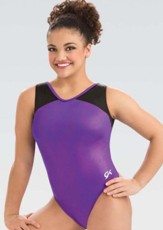 gk elite 3820 branded hologram v neck gymnastics leotard