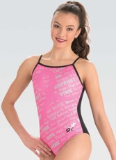 gk elite bca43 pink stripes gymnastics leotard
