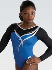 gk elite 5841ST royal ribbon long sleeve gymnastics leotard